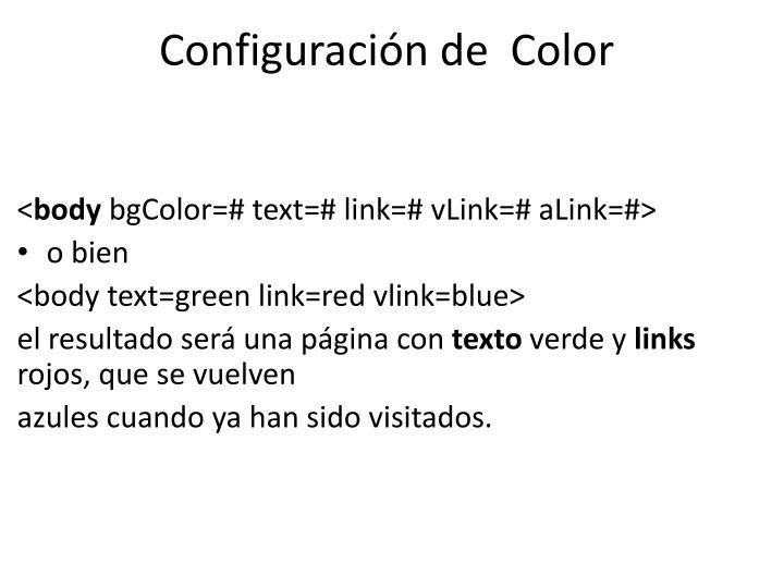 Configuración de  Color