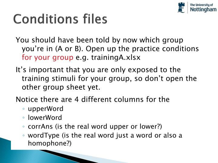 Conditions files