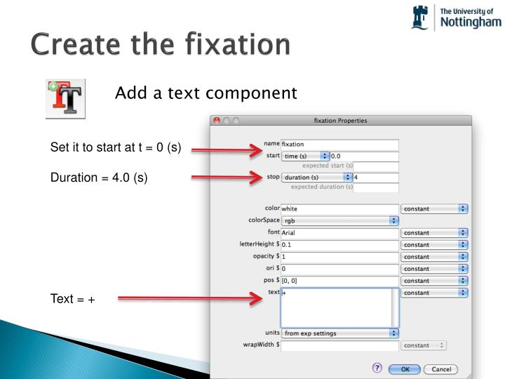 Create the fixation