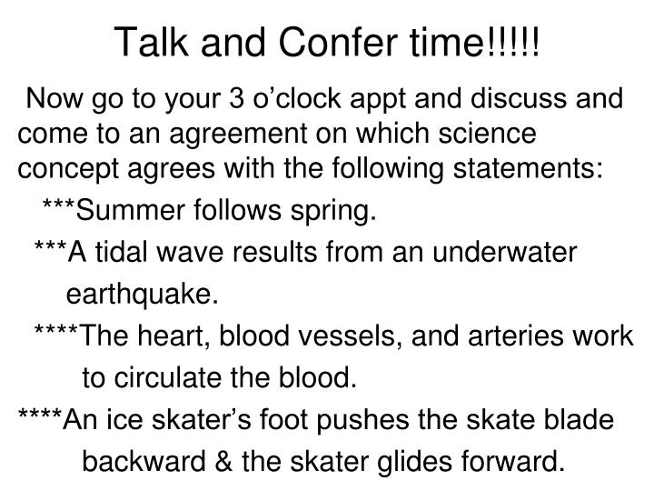 Talk and Confer time!!!!!
