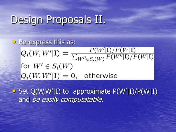 Design Proposals II.