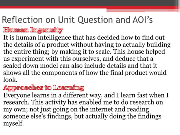 Reflection on Unit Question and AOI's