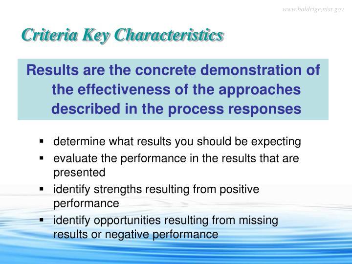 Criteria key characteristics