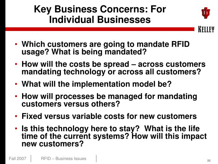 Key Business Concerns: For Individual Businesses