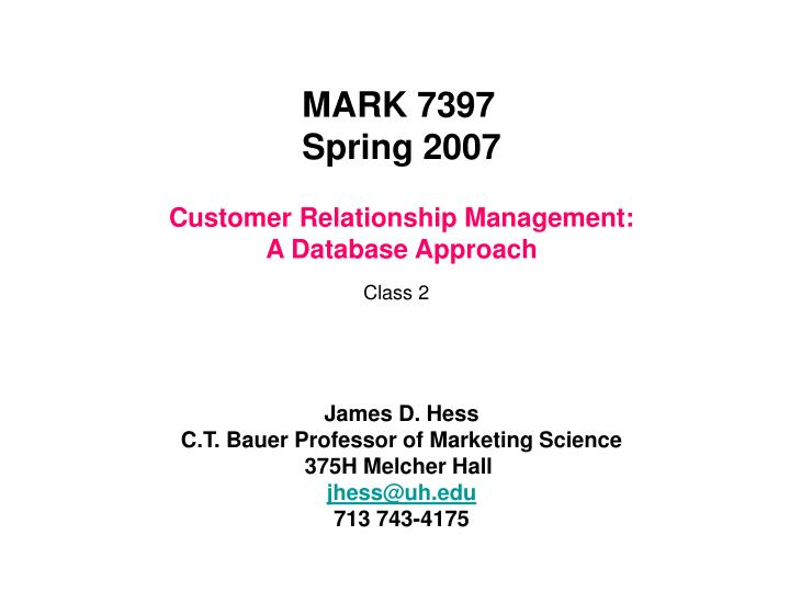 customer relationship management a database approach