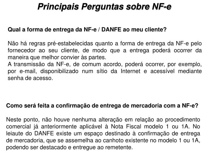 Principais Perguntas sobre NF-e