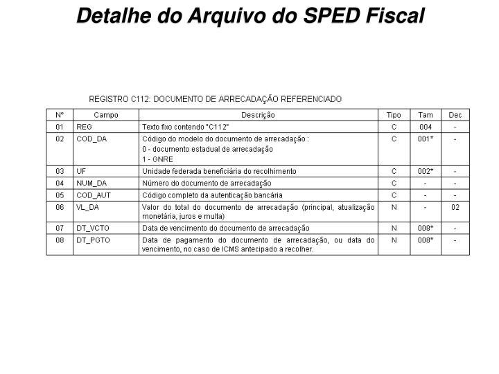 Detalhe do Arquivo do SPED Fiscal
