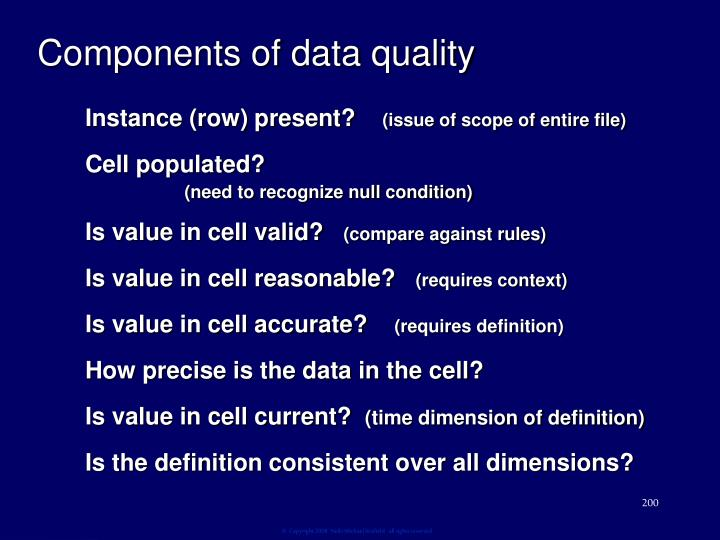 Components of data quality