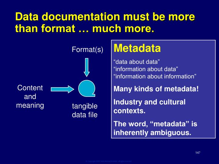 Data documentation must be more than format … much more.