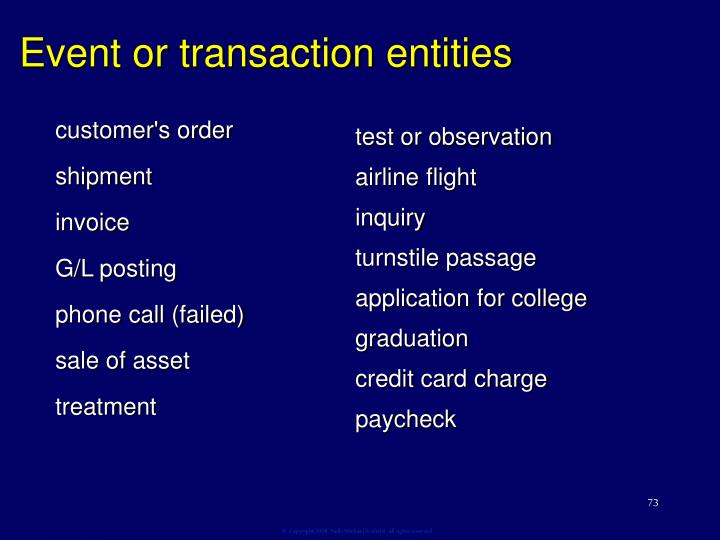 Event or transaction entities