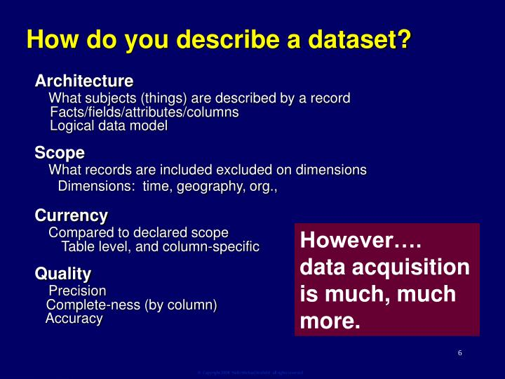 How do you describe a dataset?