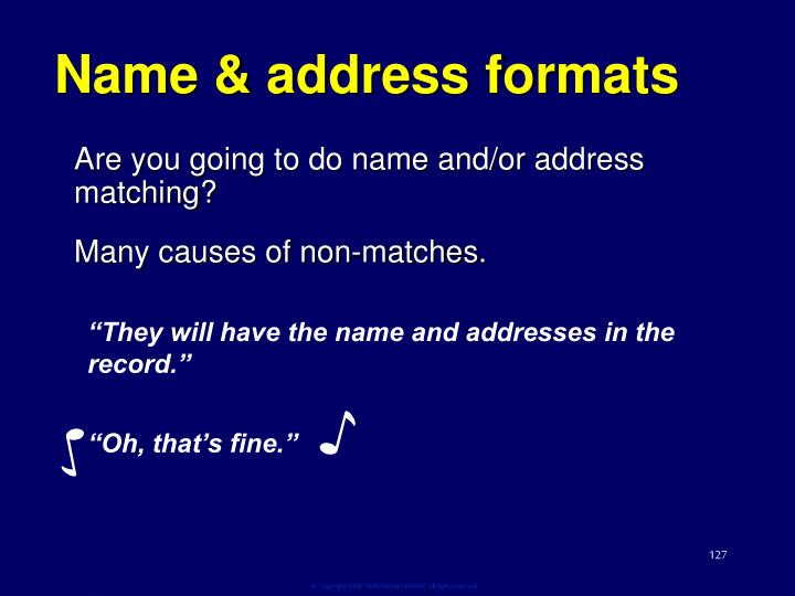Name & address formats