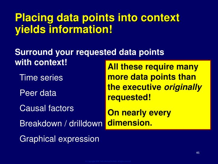 Placing data points into context yields information!