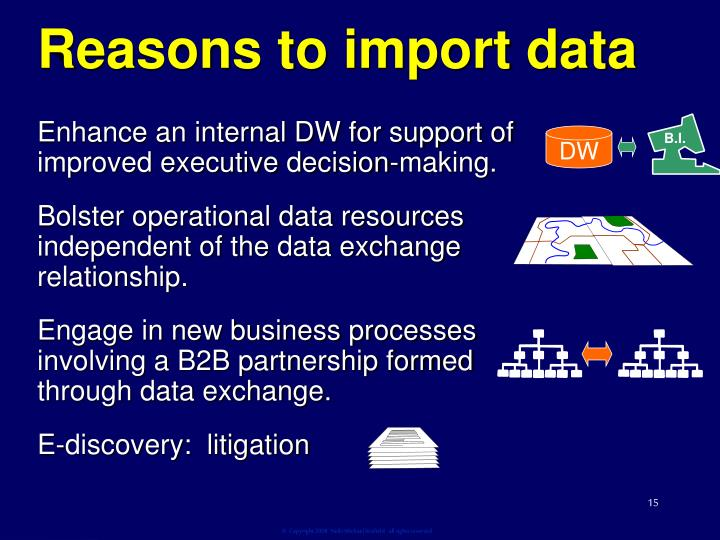Reasons to import data