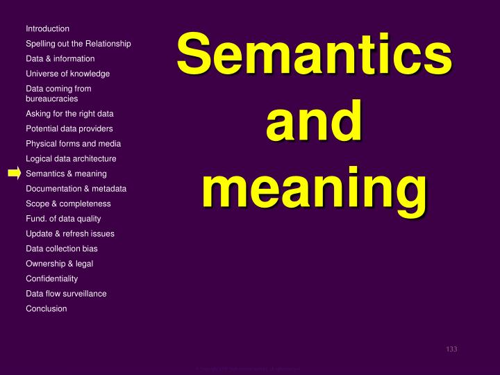 Semantics and meaning
