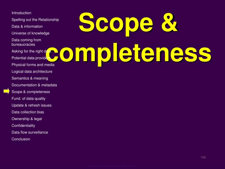 Scope & completeness