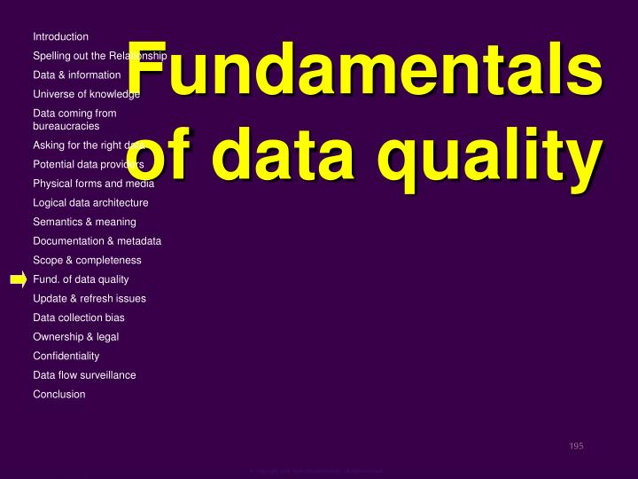 Fundamentals of data quality