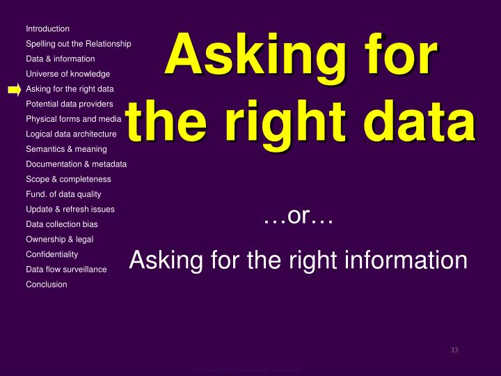Asking for the right data