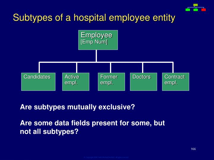 Subtypes of a hospital employee entity