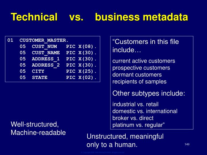Technical    vs.    business metadata