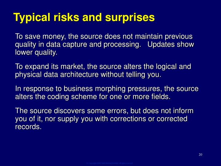 Typical risks and surprises