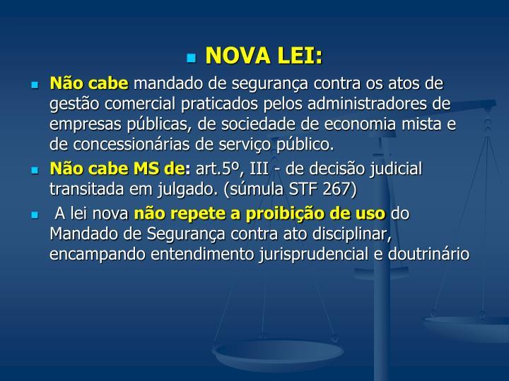 NOVA LEI: