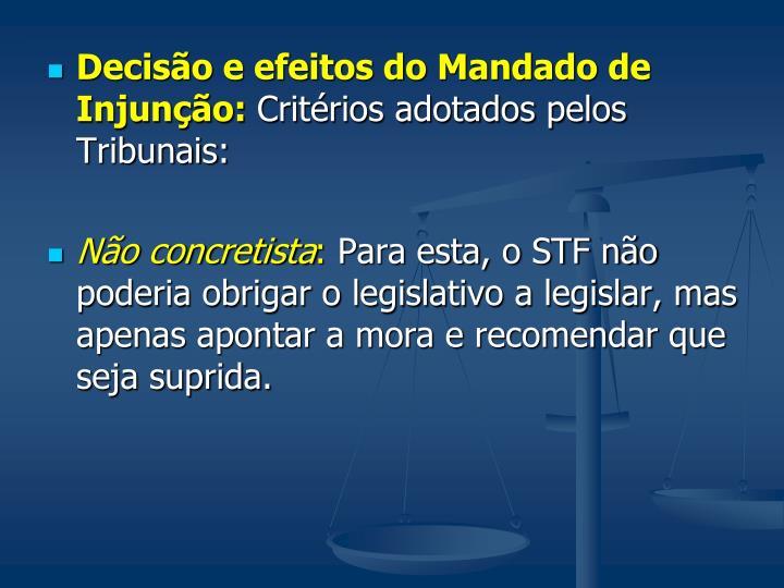 Decisão e efeitos do Mandado de Injunção: