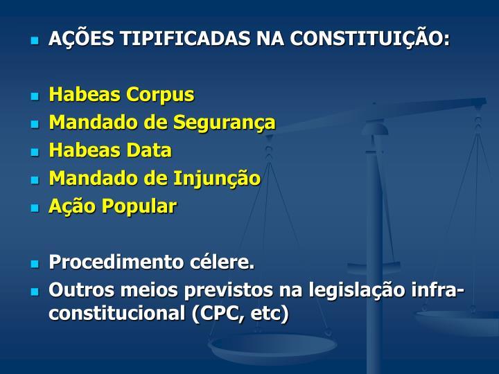 AÇÕES TIPIFICADAS NA CONSTITUIÇÃO: