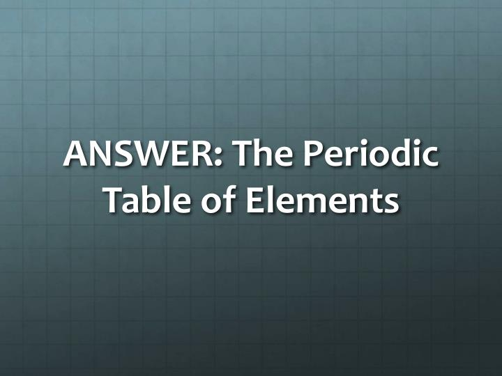 ANSWER: The Periodic Table of Elements