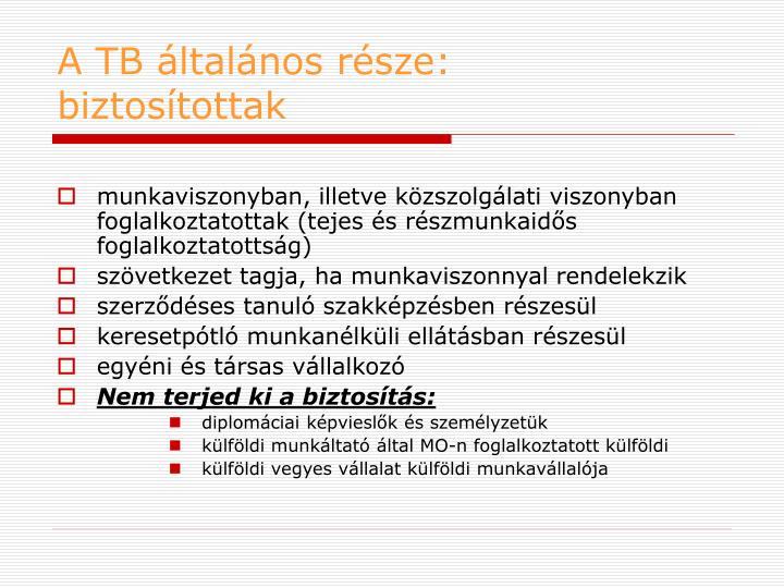 A TB általános része: