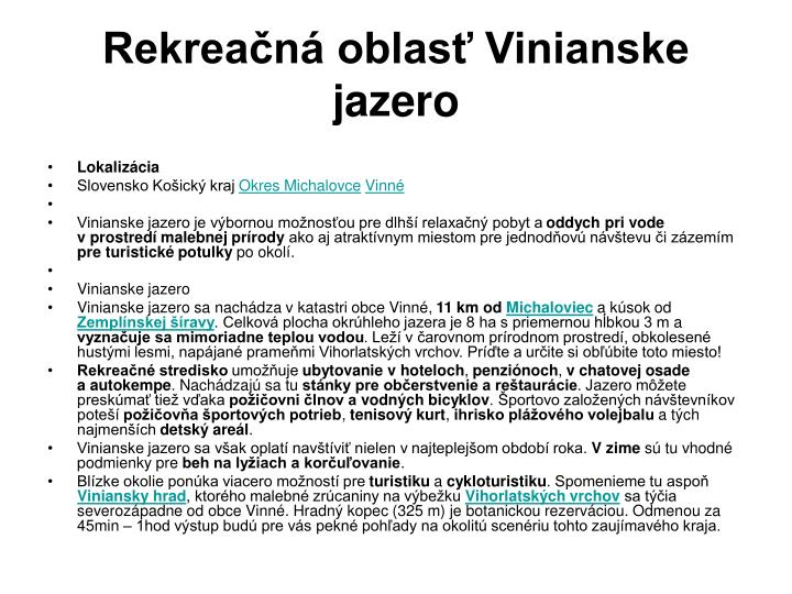 Rekreačná oblasť Vinianske jazero