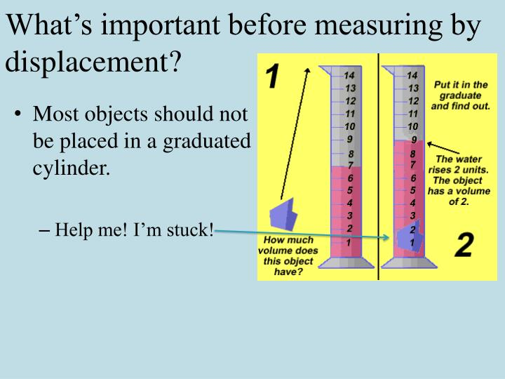 What's important before measuring by displacement?