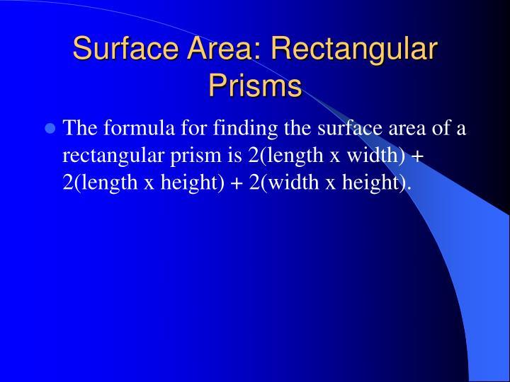 Surface Area: Rectangular Prisms