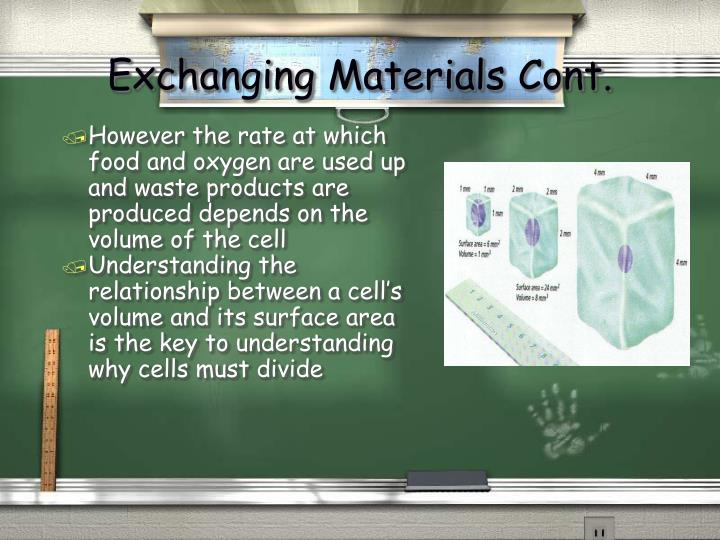 Exchanging Materials Cont.