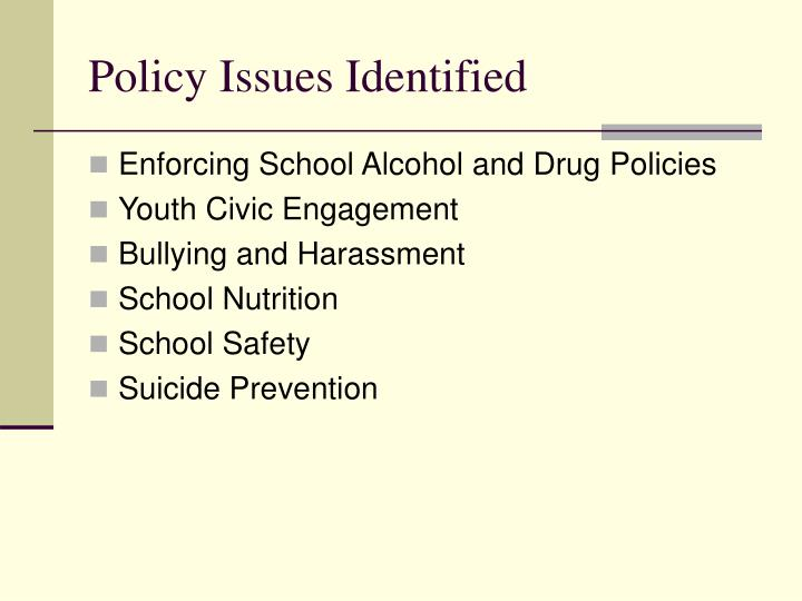 Policy issues identified
