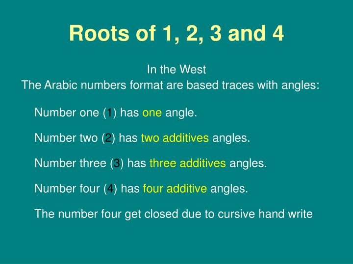 Roots of 1, 2, 3 and 4