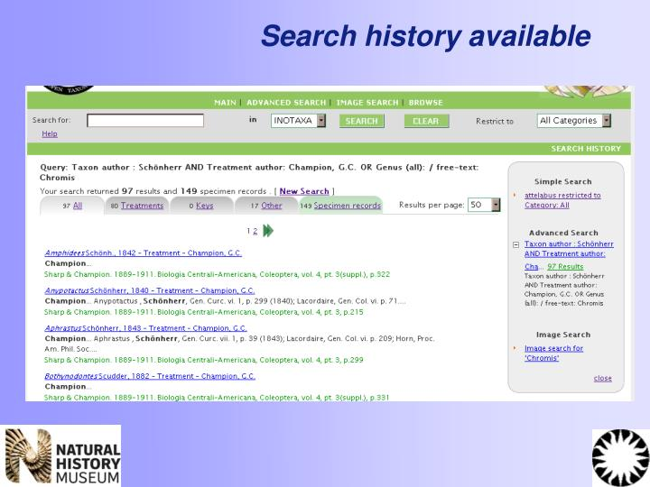 Search history available