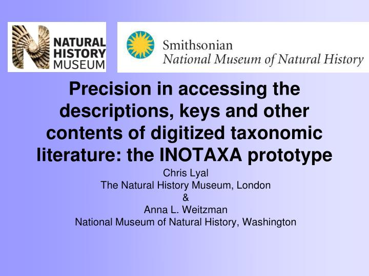 Precision in accessing the descriptions, keys and other contents of digitized taxonomic literature: ...