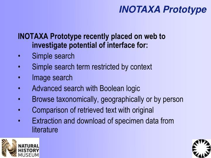 INOTAXA Prototype