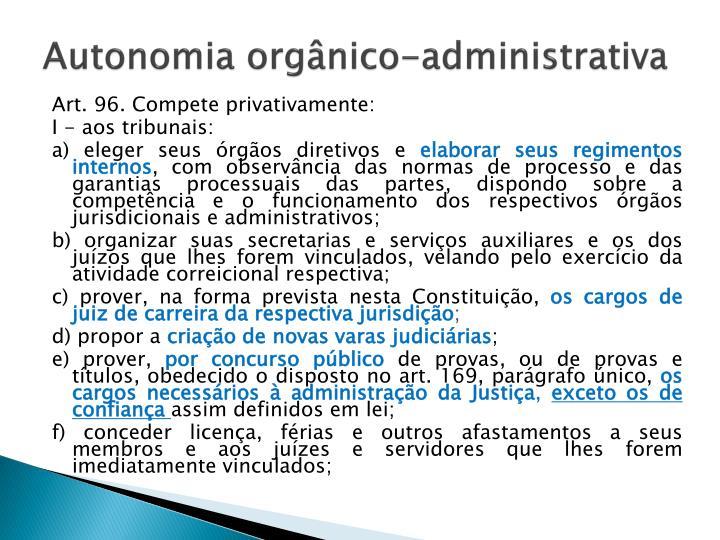 Autonomia orgânico-administrativa