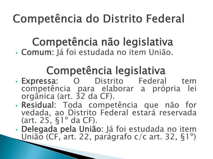 Competência do Distrito Federal