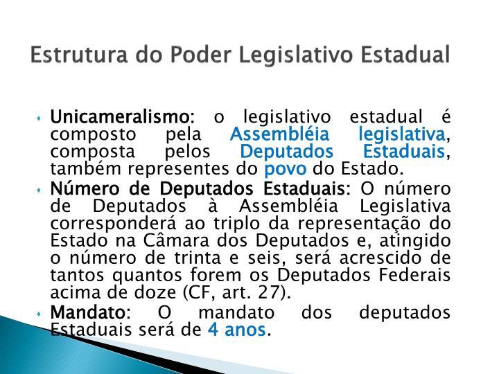 Estrutura do Poder Legislativo Estadual