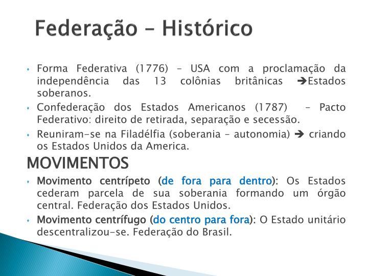 Federação – Histórico