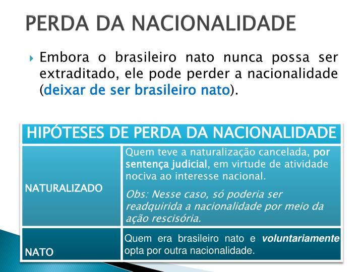 PERDA DA NACIONALIDADE