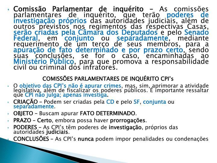 Comissão Parlamentar de inquérito –