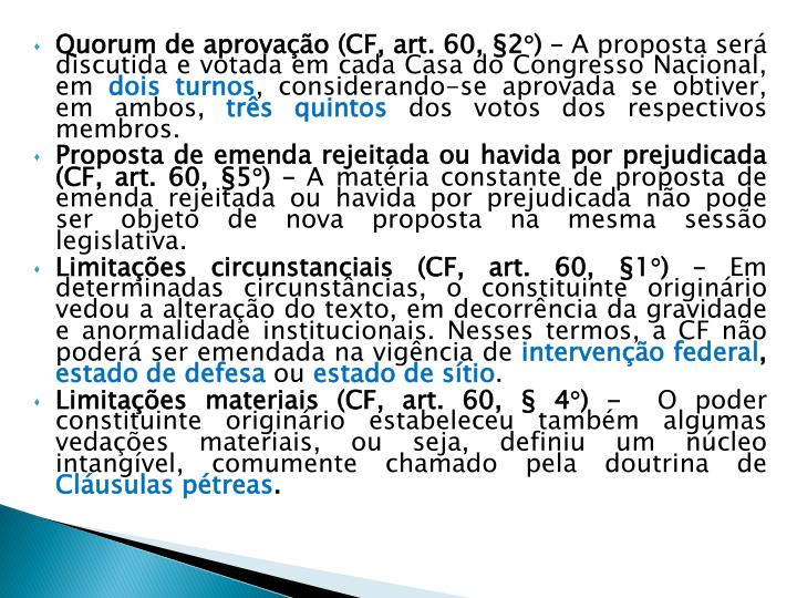 Quorum de aprovação (CF, art. 60, §2