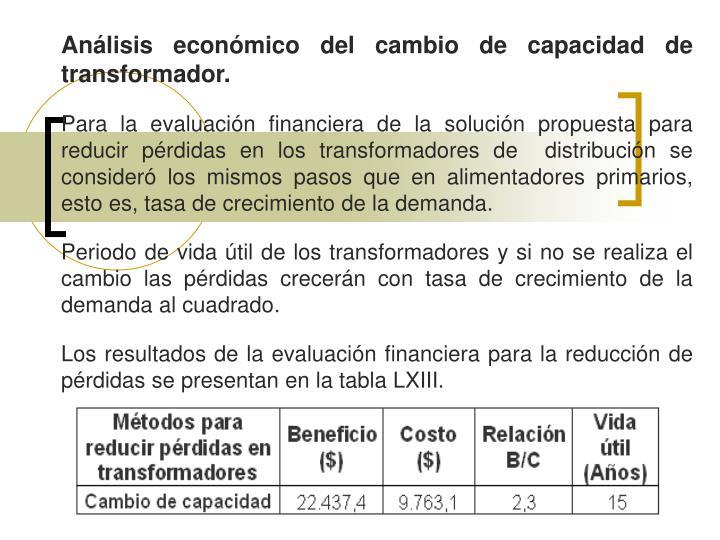 Análisis económico del cambio de capacidad de transformador.