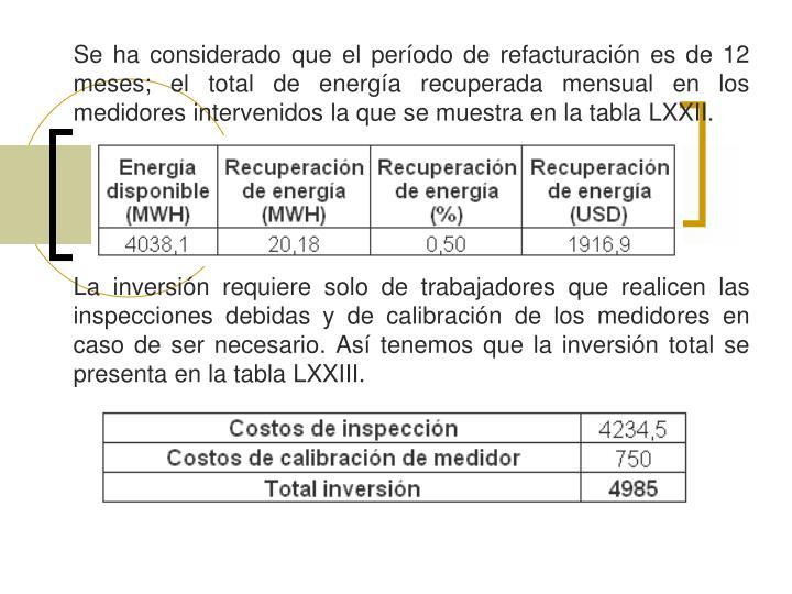 Se ha considerado que el período de refacturación es de 12 meses; el total de energía recuperada mensual en los medidores intervenidos la que se muestra en la tabla LXXII.