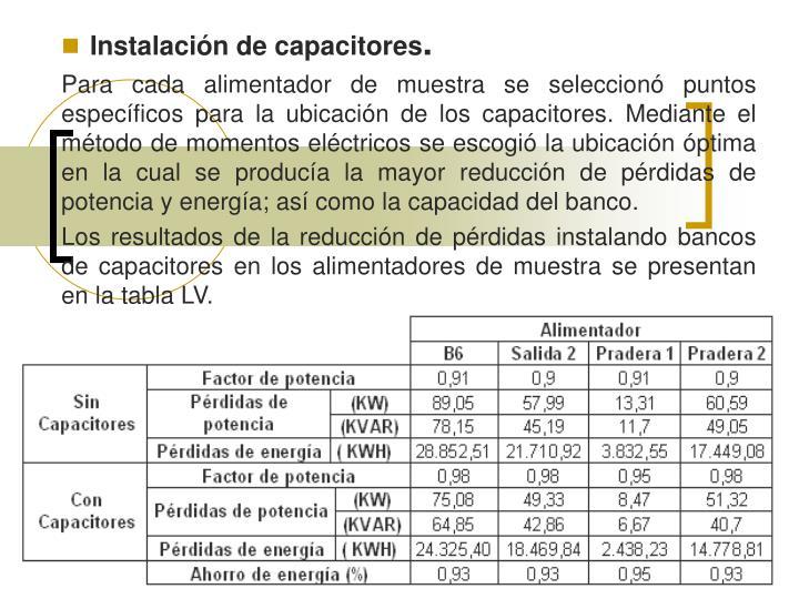 Instalación de capacitores