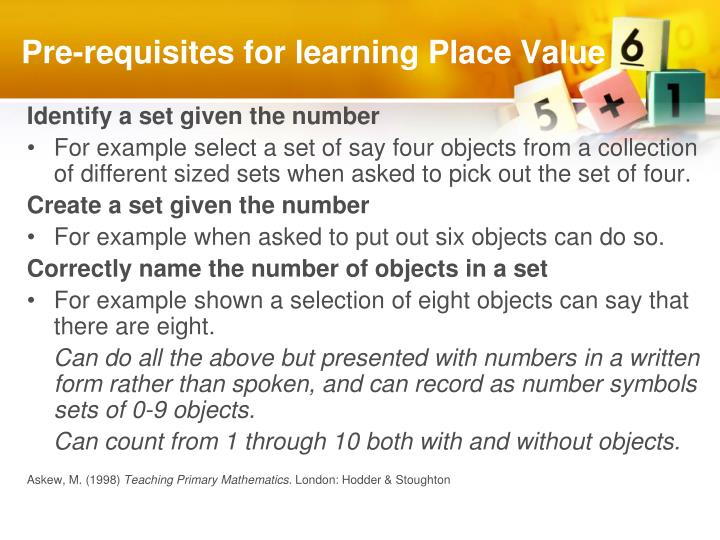 Pre requisites for learning place value